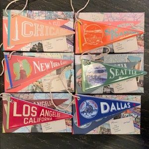Ceramic city pennants - set of 6